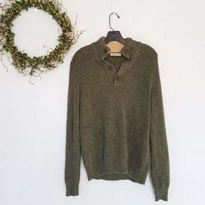 GH Bass & Company Mens 1/4 Button Collared Sweater